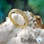 1.46 CT Certified Diamond Engagement Ring 14k Solid Gold Size 8 SI/F-G Enhanced