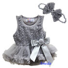 Newborn Baby Rose Silver Gray Bodysuit Romper Pettiskirt Party Dress Headband