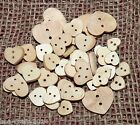 25/50 MIXED NATURAL WOODEN HEART SHAPED BUTTONS #12/15/20mm#CRAFTS/SCRAPBOOKING