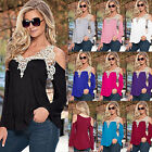 Summer Women Loose Casual Long Sleeve Sexy Lace T-Shirt Blouse Ladies Tops 6-22