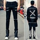 Newest Fashion Men's Black Slim Ripped Hole Jeans Pants Punk Skinny Trousers