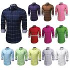 COOFANDY Men Long Sleeve Solid Loose Tops Casual Cotton Plaid Shirts N98B