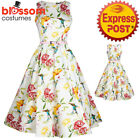 RKL45 Lady Vintage London Humming Birds Hepburn Dress Retro Vintage Rockabilly