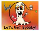 Custom Made T Shirt Halloween Let's Get Spooky Whimsical Crazy Ghost Own Bat