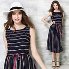 Occident Fashion Womens Casual Sleeveless Spandex Striped Slim Belted Long Dress