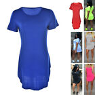 Women's Short Sleeve Casual Summer Long Tunic Top T-shirt Blouse Dress HF
