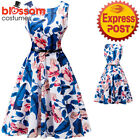 K334 Blue Flower Retro Rockabilly Vintage Party 50s Swing Dress Evening Pin Up