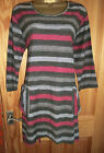 Capri greys and pink striped tunic top top with pockets size S M 12 14