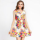 Women European Floral Print Sleeveless O neck Pleated Casual Summer Dress S-2XL
