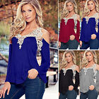 Women Lace Floral Long Sleeve Cold Off Shoulder Casual Loose Tops Blouse T-shirt