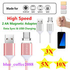 Genuine 1m Nylon Braided Magnetic Micro Usb Ios Data Charger Cable Adapter 10/5x