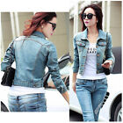 Stylish Womens Long Sleeve Coat Slim Denim Short Casual Jean Jacket Outerwear