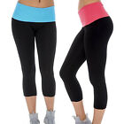 2 Pack: Ladies Yoga Fitness Running Sports Capri with Fold-Over Waistband