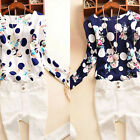 Fashion Women Floral Print Chiffon Long Sleeve Casual Blouse Loose Tops T-Shirt