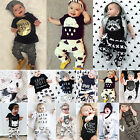 Casual Newborn Baby Boys Kids T-shirt Tops+Long Pants Outfits Summer Clothes Set