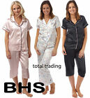 LADIES SUMMER SATIN PYJAMAS CROP AND LONG  EX BHS  massive saving was £25.00
