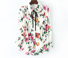 2017 spring/summer Occident lapel ruffled printed fashion long-sleeved shirt/top
