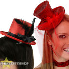 LADIES RED NOSE DAY FASCINATOR HATS CHOOSE FROM METALLIC OR GLITTER TOP HAT