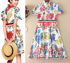 2017 Occident spring/summer agaric decoration design fresh Printed makings dress