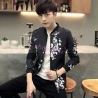 New Men's Fashion Black Floral Collar Basic Jacket Young Student Slim Fit Coat