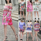 Off Shoulder  Womens Flare Sleeve Floral Maxi Summer Beach Party Casual Dress