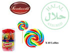 YUMMY'S RAINBOW LOLLIES TUB X 60 KIDS RETRO PARTY SWEETS CANDY WEDDING FAVOURS