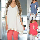 Casual Womens Loose V Neck Pullover T Shirt Half Sleeve Cotton Tops Shirt Blouse