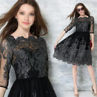 Summer Fashion Womens Short Sleeve Retro Embroidery Lace Vintage Long Dress