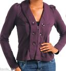 Plum Button Adorned Zip Front Fleece Bolero/Shrug/Cover-Up Jacket M
