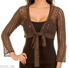 Brown Open Crochet Sequin & Bead Adorned 3/4 Sleeve Tie Front Cardigan Top XS
