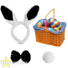 BLACK EASTER BUNNY RABBIT SET BLUE BASKET EGG HUNT FANCY DRESS ACCESSORY UNISEX