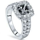 1ct Cushion Halo Engagement Ring Setting 14K White Gold Semi Mounting
