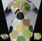 "TD3005G8 Green Olive Polka Dot 3.4"" Silk Man Tie Neckties Hanky Handkerchief Set"