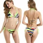 Fashion Women Ladies Sexy Print Halter Lace Up Backless Swimsuit Beach B20E