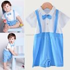 New Unisex Kids Casual Doll Neck Short Sleeve Bow-knot Rompers B20E