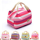 US Insulated Cold Canvas Stripe Picnic Totes Carry Case Thermal Portable Bag