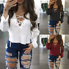 Fashion Women V Neck Lace UP T-Shirt Long Sleeve Loose Tops Casual Blouse TY
