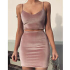 2017 Women Lady Summer Bodycon Crop Top + Skirt Set Bandage Cocktail Dress 2Pc