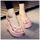 Hot Womens Fashion Platform Wedge Rubber EVA High Heel Flip Flops Beach Sandals