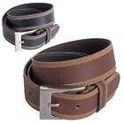 "Mens 1.5"" (40mm) Genuine Leather Belt with Skived Edge and Nickel Buckle"