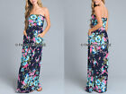 NAVY BLUE 25 FLORAL MAXI DRESS Strapless Jersey Long Full Length POCKETS S M L