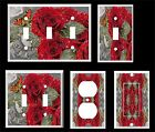 RED ROSES BUTTERFLY PLASTIC LIGHT SWITCH COVER PLATE
