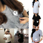 Women's Blouse Casual Cotton Short Sleeve T-Shirt Loose Pocket Tops Sweatshirt