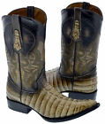 Mens Sand Beige Crocodile Alligator Skin Print Western Leather Cowboy Boots 3X