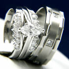 Stainless Steel Solitaire CZ Womans Engagement Mans Wedding Bridal Band Ring Set