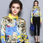 Spring/Autumn Fashion European Womens Long Sleeve Commuter Printed Tops Blouses