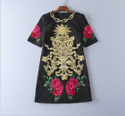2017 Occident fashion gold thread embroidery stereoscopic flower classical dress