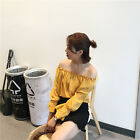 Fashion Women's Ladies Off Shoulder Long Sleeve Casual Blouse Crop Top T-Shirts