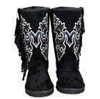 New Montana West Rhinestone Butterfly, Fringe Boots- Black, Size 7