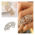 Silver/Gold Rhinestones Crystals Double Full Knuckle Finger Rings Women Jewelry